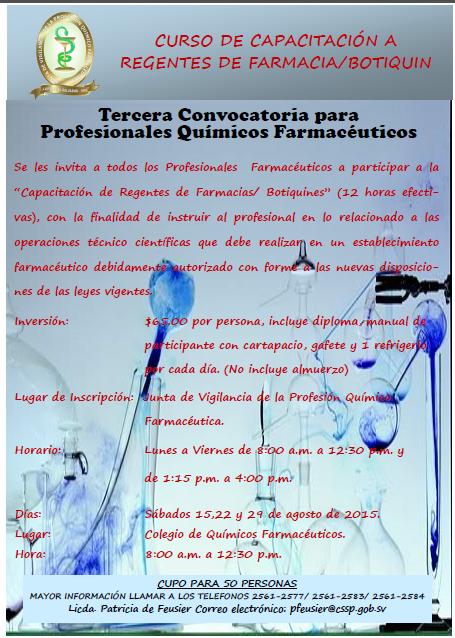 Curso de Capacitación para Regentes de Farmacia/Botiquín