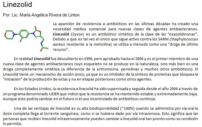 La Molécula del Mes- Linezolid