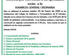 Invitación Asamblea General y elección Junta Directiva 2019-2010.